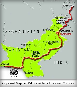 Supposed Map For Pakistan-China Economic Corridor
