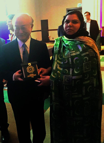 President CPGS, Senator Sehar Kamran (TI) with Director General, IAEA Yukiya Amano