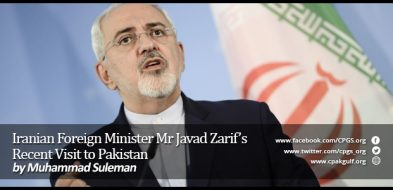 Iranian Foreign Minister Mr Javad Zarif's Recent Visit to Pakistan